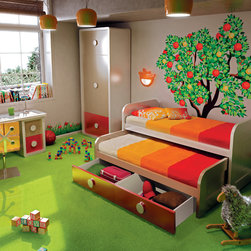 Kids double bed with drawers underneath - kids double bed with drawers. Cream-red lacquered.