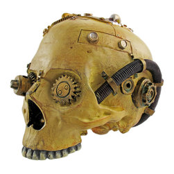 Zeckos - Cool Steampunk Design Human Skull Statue Sci-Fi - Steampunk is a sub-genre of science fiction, alternate history, and speculative fiction that involves an era or world where steam power is still widely used usually the 19th century and often Victorian era Britannia that incorporates prominent elements of either science fiction or fantasy. This wonderfully cool cold cast resin statue / figure features a Steampunk style human skull. It has clock gears in the eyes, steam tubes running from the top of the skull to the ear, and screws inserted to hold in the machinery. The skull has a bone finish, and the machinery is hand-painted with metallic copper, silver and gold paints, with verdigris accents to make the metal parts seem old and corroding. It measures 5 1/2 inches tall, is 5 3/4 inches wide and 7 inches deep. It makes a great addition to any Steampunk art collection.