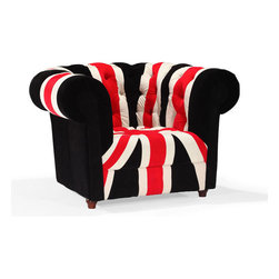 Rule Britannia Armchair - Calling all Anglophiles to come over and rock out. The Rule Britannia Armchair features the iconic design of the Union Jack with a subtle humor. With its tufted upholstery, this chair is fit for the queen herself.