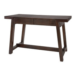 iMax - Hayden Walnut Wood Desk - Taking work home is a fact of corporate life today, but you can work in style when you get there. Two drawers, clean lines and a rich, go-with-everything walnut finish create an inviting desk that is at home as you are.