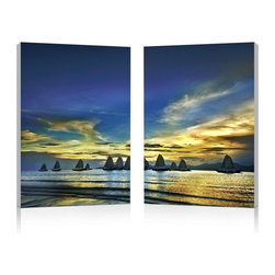 """Wholesale Interiors - Sunset Sails Mounted Photography Print Diptych - As the last rays of golden sunlight sweep across the sea and sky, an elegant fleet of sailboats stretch across the horizon. A photograph printed with vivid colors on waterproof vinyl canvas, the Sunset Sails Modern Wall Art Set features the image split equally between two MDF wooden frames for display adjacent to one another. The Chinese-made wall art comes fully assembled and ready to hang, though hardware for hanging on your wall is not included. Keep the set looking new by simply wiping clean with a dry cloth. Product dimension: 15.75""""W x 1""""D x 23.62""""H."""