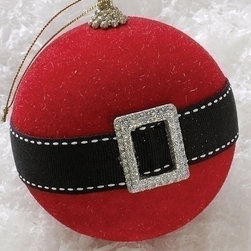 Holiday Cheer Santa Claus Belt Christmas Ball Ornament - This ornament is kind of funny — it's like the belt on a Burberry trench coat.