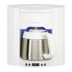 Brew Express - Programmable 10 Cup Recessed Coffee Maker - BE-110 WW - Making the perfect cup of coffee is now as simple as ever. With the award winning 10 cup Brew Express, simply pour in the coffee grounds and let the fully programmable base take care of the rest. The unit is attached to your home's water supply through a refrigerator or under-sink supply line, and is hard wired to your home's power supply. You never have to measure the correct amount of water again. Simply select the amount of coffee you want brewed, from a single cup to a full carafe. The water is spread evenly over the coffee grounds to ensure a consistent brew every time, and brews the coffee in half the time of conventional coffee makers. A built-in pause-n-brew infrared sensor prevents overflows and allows you to remove the carafe or mug at any time, without the mess of dripping coffee collecting on the base. A fully programmable timer/clock ensures that next cup of coffee is ready and waiting at the exact moment of your choosing. For added convenience, a soft-blue nightlight makes reaching for that first cup of coffee in the morning that much easier with a touch sensitive on/off switch on the base. The recessed design saves counter space for cooking and other appliances and includes a rough-in box for wall mounting. An improved carafe design increases heat retention, allowing you to set the carafe on a table or take it to a distant room without significant heat loss. Also included is a single cup brew basket. An optional carafe lock for child protection or slide prevention in RV's and yachts is available. For homes upgrading from the 12 cup model number BE-112; this unit retrofits into the same housing. A mounting plate must be purchased to complete the installation. Please contact customer service to special order model number MP110 if you are needing to upgrade to the new model from the 12-cup version.