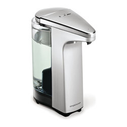 simplehuman - Compact Sensor Pump With Soap Sample, Brushed Nickel, 8 Fl. Oz. - Wash all your cares — or at least the daily grime — away with this liquid soap dispenser. Wave your hand under the sensor and the perfect pump of soap magically appears where you need it. It's also designed to be drip-free and easy to refill. Has washing your hands ever been this easy?