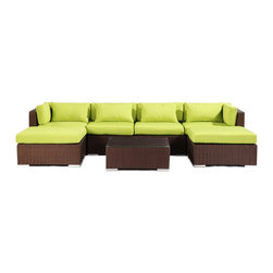 """Kardiel - Modify-It Modern Outdoor Furniture Sofa Patio Napali 7pc Set Espresso Lime Green - Gather around the Napali 7-piece set for all in one entertaining. Imagine a modern outdoor sectional sofa large enough to host all of your guests in a lineal single piece setting. This extended length sofa features 2 chaise pieces one on each end. The tempered glass top coffee table fits closely enough to accommodate beverages. The flexible nature of Modify-It modular allows for customized reconfiguring of the layout at will. The design origins are Clean European. The elements of comfort are inspired by the relaxed style of the Hawaiian Islands. The Aloha series comes in many configurations, but all feature a minimalist frame and thick, ample modern cube cushions. The back cushions are consistent in shape, not tapered in to create the lean back angle. Rather the frame itself is specifically """"lean tapered"""" allowing for a full cushion, thus a more comfortable lounging experience. The cushion stitch style utilizes smooth and clean hand tailoring, without extruding edge piping. The generously proportioned frame is hand-woven of colorfast, PE Resin wicker. The fabric is Season-Smart 100% Outdoor Polyester and resists mildew, fading and staining. The ability to modify configurations may tempt you to move the pieces around... a lot. No worries, Modify-It is manufactured with a strong but lightweight, rust proof Aluminum frame for easy handling."""