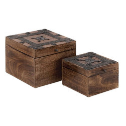 Benzara - Wood Metal Box with Cube-Shaped Design - Set of 2 - A beautiful combination of style and elegance, the Wood Metal Box S/2 8 in. , 6 in. W set of two is designed to adorn different decor settings. These elegant wood metal boxes are sure to make a wonderful addition to coffee tables or book shelves with its natural wood construction. Featuring a simple cube-shaped design with a hinged opening, these wood metal boxes will enhance the decor of your room. Sleek, neat lines dominate the construction of these wood boxes, which lend subtle sophistication to the natural-wood finished decor pieces. Metal detailing along the lid of these boxes lend an old-world appeal to the design. The lid of these boxes is detailed with dark finished metal stripes ornately styled rivets that impart a look of oriental charm to the design aesthetics. Designed from high quality wood and metal, this set of boxes is sturdy and durable. It is sure to last for years to come..