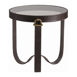 Arteriors - Arteriors Stirrup End Table - Inspired by the stirrups flanking a horse's saddle, this chocolate leather side table with antique brass handles and smoke glass top resonates the equestrian elan of Hermes or Goyard. Use bedside or occasional. Primary Material: LeatherFinish: ChocolateColor: Brown