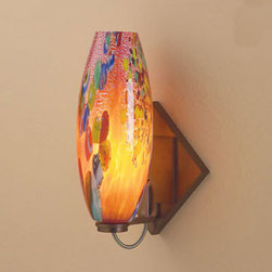 Bruck Lighting Systems - Ciro Bronze One-Light Diamond LED Wall Sconce with Red Mosaic Glass - -Classic cylindrical shape that is narrowed at both ends. It is hand blown by Italian artisans.  -May be mounted as an up-light or a down-light.  -May be mounted as a square or at a 45 degree angle to create a diamond shape.  -3 Watt LED and driver is included. -The stunning glass from Bruck Lighting is hand blown in various locations across the globe, including Italy, Austria, Germany and the United States. �The pattern and color variations make each piece unique. Bruck Lighting Systems - 103125BZ