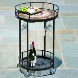 Compass Mosaic Outdoor Serving Cart - Even in the evening the beauty of the Compass Mosaic Outdoor Serving Cart is apparent. Warm gold tones in a sun pattern add sophisticated elegance and beauty to what otherwise be a simple serving cart. Made from hand forged wrought iron, the frame of this serving cart is dipped in a zinc-phosphate bath and E-coated to create a weather-resistant coating. It's finished with a powder coating to provide an extra layer of rust-resistant protection and it also creates a stronger, richer color. The expert craftsmanship of this serving cart is displayed in its hand-laid mosaic tiles on the top shelf. Made from natural sources such as marble, slate, and travertine, each tile varies slightly in color, resulting in a truly unique serving cart. The top is then grouted with industrial adhesives for durability so the natural beauty of this table is maintained. Under the top shelf is wine glass rack so you have a safe place to store your wine glasses without taking up precious space. A bottom shelf gives you additional storage space for bottles or dishes, while the wheels makes moving this serving cart from place to place easy. With plenty of room for glasses, wine bottles, and even plates of food, this serving cart just made entertaining easier and more fun. Additional Features Features a wine glass rack underneath top shelf Wheels on bottom makes it easy to move Bottom shelf is perfect for storage Cart frame is weather and rust resistant Made with rust proof stainless steel hardware Iron has a thickness of 5mm to 6mm Mosaic tiles are hand-set Tiles come from natural sources Sources include marble, slate, and travertine Colors will vary slightly on each cart No 2 carts are exactly alike Grouted with industrial adhesives for durability Easy to clean with mild soap and water Includes 1 serving cart Some assembly required 1 year limited warranty About Mosaic Table TopsThe mosaic tiles are hand-set and grouted with industrial adhesives for maximum durability. What this means is if the mosaic top gets wet, the grout won't dry out and crack like traditional standard grout would. The top is then finished and sealed with an industrial-grade sealant called Fluorocarbon for superior protection. Natural wear and tear of elements may lead to blistering of the silicone top seal and natural aging of the tile materials. The hand-forged wrought-iron table frame is dipped in a zinc-phosphate bath and then electrostatically coated to help create a weather-resistant coating to delay the onset of rust. Following a quality check for strength and durability, iron welds are ground for aesthetic appeal. Finally, a powder-coated finish is applied and baked onto the iron for stronger color and protection. As fetching as it is functional, this is a piece that will never go out of style. About Alfresco HomeOffering a wide selection of fashionable products, from casual furniture and garden lighting to permanent botanicals and seasonal decor, Alfresco Home casual living products offer a complete line of interior and exterior living furnishings and accents. Based out of King of Prussia, Penn., Alfresco Home continues to blend indoor and outdoor furniture to create a lifestyle of alfresco living inside and outside of the home. Inlaid mosaic tabletops, fine hardwood furnishings, artisan-inspired accents, premium silk botanicals, and all-weather wicker sets are just a few examples of the kind of treasures you'll find in Alfresco's specially designed collections.Please note this product does not ship to Pennsylvania.