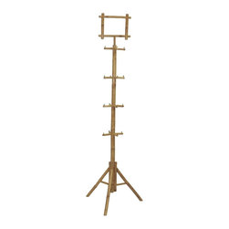 "Bamboo54 - Bamboo Rack with Pos Sign Holder - This rack is great for use as a display unit for belts or scarf or any accessory. Pos signage on top allow you to make customs signs which is easily inserted. Measures 82""H, 24"" footprint:"