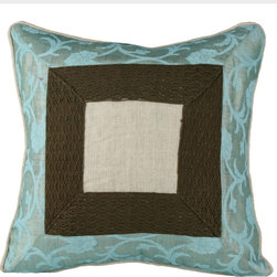"""Brandi Renee Design - Damask Pillow Cover with Crochet Inserts Aqua 16"""" Square - Our stylish damask pillow cover is a modern piece with tan, brown and dusty blue colors that have a casual design that flow perfectly with its square dimensions a thin tan rope borders the edge of the outer lining of this charming cover."""