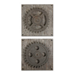 Uttermost - Rustic Gears Wall Art, Set of 2 - Definitely not the same old grind! These great gears mounted on weathered fir bring a touch of interesting industrial chic to your home.