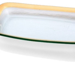 """Annieglass - Roman Antique Asparagus Bowl Gold Trim - Annieglass handmade Roman Antique collection asparagus bowl in gold trim. Durable, dishwasher safe, chip resistant and safe for dining. Makes a great wedding gift, birthday gift, baby shower gift, or any other special occassion! Handmade glass 11 x 7"""" rec. asparagus bowl produced in the U.S.A. Durable, chip-resistant and dishwasher safe. Banded with 24-karat gold. Each Annieglass piece is handmade from architectural quality glass with Annie Morhauser's trademark slumping process  which is a uniquely developed glass bending technique. Each piece is highly durable, dishwasher safe, chip resistant, and safe for dining."""