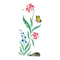 """Stencil Ease - Flower Patch Border B Stencil - Flower Patch Border B Home Decor Stencil Contains: 3 - 9"""" x 18"""" Stencil Sheets Actual Size: 16 1/2"""" high x 7"""" repeat (41.91 cm x 17.78 cm)  This design was painted using the following Spill Proof stencil paint colors: SP-2 Bittersweet SP-16 BlackSP-23 VioletMSP01013 EvergreenSP-36 Rich RedSP-39 RhubarbSP-46 Royal BlueSP-30 Autumn Brown Complete kit comes with stencils paints and 1 T1-68 double ended stencil brush."""