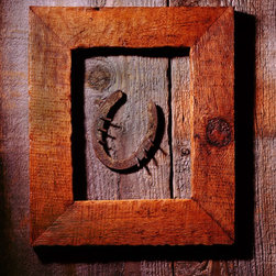 Framed Horseshoe Artwork - mounted 11X14 color photograph of a horseshoe in wooden frame