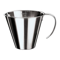 Paderno World Cuisine - 6-1/8-in. Diameter Stackable Stainless Steel Measuring Jug - This Paderno World Cuisine 6 1/8-in. diameter stackable stainless steel measuring jug is a staple in any kitchen. It is spouted and allows for quick measuring and dispensing of liquid ingredients.
