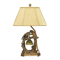 Dimond Lighting - Twin Parrots 1-Light Table Lamp in Atlanta Bronze - Dimond Lighting 91-507 Twin Parrots 1-Light Table Lamp in Atlanta Bronze