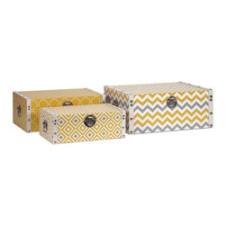 """IMAX - Essentials Storage Boxes - Yellow - With the bright color and bold patterns which define the Mellow Yellow collection from Essentials by Connie Post, these decorative boxes are a brilliant storage solution to declutter your room. Item Dimensions: (5-6.25-7.25""""h x 13.75-15.75-17.75""""w x 8.25-10.25-12.25"""")"""