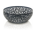 """Alessi - Alessi """"CACTUS!"""" Matte Black Fruit Holder, Black, Large - The warm tone throughout this handsome bowl allows the naturally vibrant colors of fruit to stand out even more. It makes an eye-catching addition to your coffee table — or showcase it as a centerpiece on your dining table."""