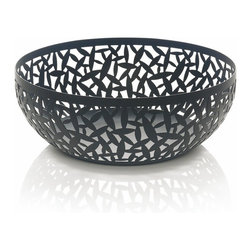 "Alessi - Alessi ""Cactus!"" Matte Black Fruit Holder, Black, Large - The warm tone throughout this handsome bowl allows the naturally vibrant colors of fruit to stand out even more. It makes an eye-catching addition to your coffee table — or showcase it as a centerpiece on your dining table."