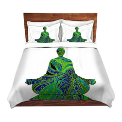 DiaNoche Designs - Duvet Cover Twill by Susie Kunzelman - Man Woman Yoga II - Lightweight and soft brushed twill Duvet Cover sizes Twin, Queen, King.  SHAMS NOT INCLUDED.  This duvet is designed to wash upon arrival for maximum softness.   Each duvet starts by looming the fabric and cutting to the size ordered.  The Image is printed and your Duvet Cover is meticulously sewn together with ties in each corner and a concealed zip closure.  All in the USA!!  Poly top with a Cotton Poly underside.  Dye Sublimation printing permanently adheres the ink to the material for long life and durability. Printed top, cream colored bottom, Machine Washable, Product may vary slightly from image.