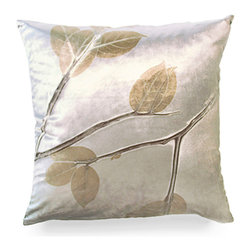 Champagne Lemon Leaf on Cobble Pillow - Silky to the touch and radiating elegance, the Champagne Lemon Leaf on Cobble Pillow is simply stunning. An excellent finishing touch when updating the look of a space, the subtle shimmer in the champagne silk brightens up a chair or sofa beautifully. Each Aviva Stanoff piece is specially crafted for you upon ordering and takes 8-10 weeks but is absolutely worth the wait.