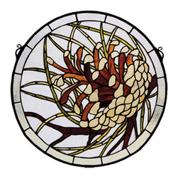"Meyda - 17""W X 17""H Pinecone Medallion Stained Glass Window - This handsome round pine cone window is an originalmeyda tiffany's design. Handcrafted utilizing the copper foil construction process and 235 pieces ofrootbeer granite sky blue, grass green, and cleartextured stained art glass encased in a solid brassframe, each window is a unique creation. Mountingbracket and jack chain included."