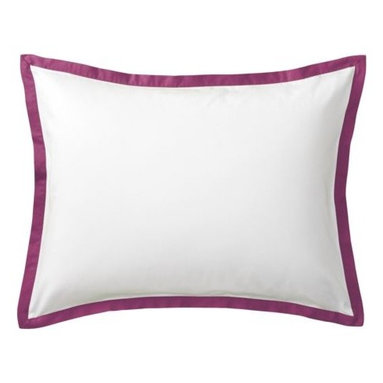 "Serena & Lily - Berry Border Frame Sham - A clean, simple design for those who crave a quieter bed. Sham features crisp 300-thread-count 100% cotton sateen with 1"" band in Berry."