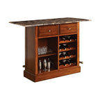 "Acme - Cherry Finish Wood Bar Cabinet Stand with Foot Rail and Wine Rack - Cherry Finish Wood Bar Cabinet Stand with Foot Rail and Wine Rack with faux marble top . This set features 2 slide out drawers a faux marble top with decorative edge, wine racks and brass finish rail on bottom. Bar measures 60"" x 24"" x 42"" H. Some assembly required."