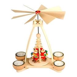 "Alexander Taron - Alexander Taron Graupner Pyramid - 3 Santa -Natural - 10.25""H x 8.25""W x 8.25""D - Graupner Pyramid - Three Santas with a natural wood finish"