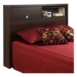 Prepac - Prepac Series 9 Designer 2 Door Full / Queen Headboard in Espresso - Prepac - Headboards - EHFX05021 - The Prepac Series 9 Designer Collection Espresso Headboard offers a unique and versatile solution to bedroom storage and style. Flip-up doors reveal 2 generously sized storage compartments. Keep books and other personal items safely behind the doors or flip up the doors up to display your decorative items. The inset geometric pulls are recessed so that you won't snag hair or clothes.