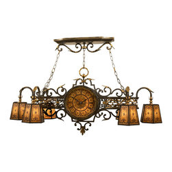 Fine Art Lamps - Epicurean Chandelier, 452440ST - If you're ready for a change, it's time to turn up the style dial. Reminiscent of a fine train station antique, this chandelier features a double-sided working clock, scrolls and leaves in iron and gold, and shades of amber mica. It'd be great over your grand library table, kitchen island, pool table or bar.