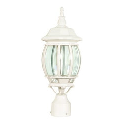 Nuvo Lighting - Nuvo Lighting 60/897 White Central Park Transitional Three Light Up - Three light up lighting outdoor post light featuring clear beveled glassRequires 3 60w Candelabra base bulbs (not included)