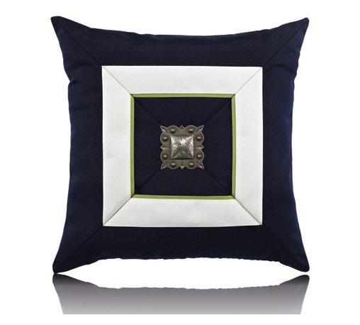 Elaine Smith - navy cruise jewel pillow (19x19) - Performance pillows from renowned textile designer Elaine Smith® feature unique fabrics that are both soft and stylish, rich in color, lavish in detail, and impervious to the elements.