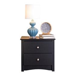 Prepac - Prepac Sonoma Black 2-Drawer Nightstand - Prepac - Nightstands - BDC2422 -  Coordinate with your Sonoma collection bedroom furniture when you add the simple elegance of a black 2 drawer nightstand. Accented by understated brushed nickel knobs the design is clean and modern.   The 2 generously sized drawers can accommodate clothing linen and a variety of bedroom storage needs. The top of this black nightstand table is spacious enough to accommodate a lamp clock book and other combinations of accessories.