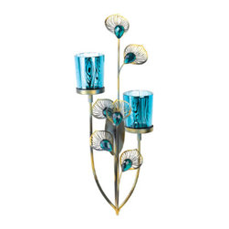 gifts and more - Peacock Plume Wall Sconce - The majestic beauty of peacock feathers will grace your wall with sparkle and shine!  This attractive wall sconce features a multi-tone finish, faceted peacock blue buds surrounded by fanning metal plumes, and two peacock-patterned candle cups.  Candles not included.