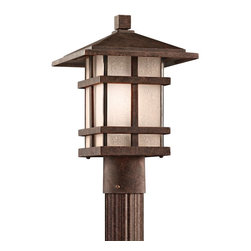 KICHLER - KICHLER 9527AGZ Cross Creek Arts and Crafts/Mission Outdoor Post Lantern - With rustic charm as unique as its design, The Cross Creek Collection puts a modern spin on a classic fixture. Each piece is constructed from long lasting cast aluminum ensuring a quality fit and finish that will last for ages. Our Aged Bronze finish adds a distressed appearance to the piece, while Textured linen seedy glass panels additional warmth make the Cross Creek Collection the perfect balance of ambiance, style, and value.