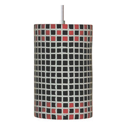 A19 - Checkers Pendant Red and Black With Canopy - Fun and funky, Checkers will transport you back to 1920s and 1930s, with its high gloss and appealing checker-board pattern. Choose black-and-white or red-and-white for a cheerful option, or black-and-red for something more dashing.