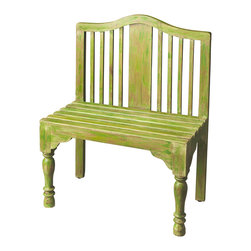 Butler Furniture - Roseland Green Solid Wood Bench - Reminiscent of a gardeners bench, this beautifully proportioned bench features a slatted back and seat with meticulously turned front legs. Crafted from solid wood it is hand-painted in a whimsical antique finish.