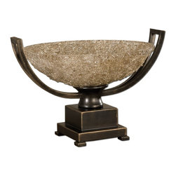 Uttermost - Uttermost Uttermost Decorative Bowl in Hand Rubbed Oil Bronze Patina - Shown in picture: Hand Rubbed Oil Bronze Patina With Cracked Refractive Glass Bowl. Hand rubbed oil bronze patina with cracked - refractive glass bowl.