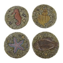 Nautical Step Stones/Wall Plaques Set of 4 - This beautiful set of 4 step stones/wall plaques is perfect for use as a stepping stone or to be hung anywhere in your home (pre-drilled and ready for hanging). Each stone is 7.5 inches in diameter and made out of a durable poly resin construction. Each stepping stone features intricate design details with little shells and rocks and a main decorative nautical design: a seahorse, a starfish, a seashell, and a fish, and it comes as a full set of 4 pieces. This is the perfect gift idea for anyone who enjoys the sun, the beach, and a cool breeze!