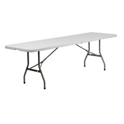 Flash Furniture - Flash Furniture 30 x 96 Plastic Bi-Folding Table - RB-3096FH-GG - Commercial grade folding table that is designed to withstand the test of time! Flash Furniture's 30''W x 96''L folding table features a durable stain resistant blow molded top and sturdy frame. The blow molded top is super low maintenance and cleans easily. This 8 ft. table folds in half and legs lock in place in a snap with the leg locking system for easy set-ups. This table can be used as a temporary seating solution or set-up in a permanent location for everyday use. [RB-3096FH-GG]
