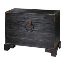 Uttermost - Uttermost Carino Wooden Trunk Table 24305 - Black Satin, Solid Fir Wood With Natural Knots And Deep Grains With Copper Brown Metal Accents. Non-latching Top With Safety Hinges. Generous Storage Inside.