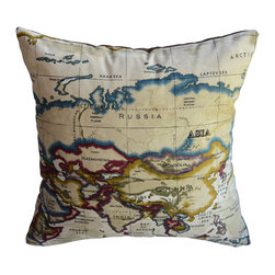 KH Window Fashions, Inc. - Old-Fashioned World Atlas Map Pillow, Brown, 18x18, With Insert - Decorative Old-Fashioned World Atlas Map Pillow