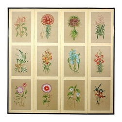 Oriental Unlimited - 6 ft. Tall Room Divider w 12 Small Flowers Mo - 12 Small flowers delicately and colorfully rendered. Handpainted ink and watercolor silk screen. Song dynasty (10th Century China) brush art style. Crafted from silk covered paper and glued over 4 side-by-side lacquered wood frames. Matted with a fine Chinese silk brocade border. Comes with lacquered Brass geometric hangers for easy mounting. Can be displayed as a privacy screen. Note that no 2 renderings are exactly the same. Subtle and beautiful hand painted wall art for a fraction of the cost of a comparable print. 72 in. W x 0.63 in. D x 72 in. H