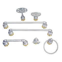 Moen - Moen Platinum/ Polished Brass 7-piece Bath Accessory Set - Add a modern touch to your bath decor with Moen bathroom accessories Bath accessories set makes an ideal home improvement projectBathroom set comes with seven pieces