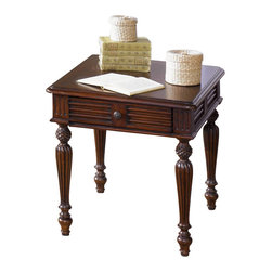 Liberty Furniture - Liberty Furniture Royal Landing 27x24 Rectangular End Table in Cherry, Dark Wood - Royal Landing is a unique collection with a relaxed traditional look of British Colonial styling and a hint of the tropics. This style furniture reflects the romance, allure, and excitement of an age of exploration and discovery. Like taking a trip around the world without ever leaving home. What's included: End Table (1).