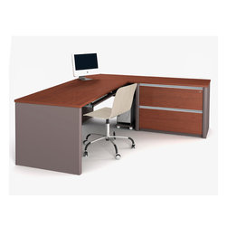 Bestar - Bestar Connexion Bordeaux & Slate 71 x 83 L-Shaped Workstation Desk - The desk is made of durable 1 inch commercial grade work surface with melamine finish that resist scratches stains and wears. It features an impact resistant 0.25 cm PVC edge. Grommets are available on the station for efficient wire management. The oversized pedestal is assembled to facilitate assembly and offers two file drawers with letter/legal filing system. The drawers are on ball-bearing slides and the keyboard drawer features double-extension slides for a smooth and quiet operation. The workstation meets or exceeds ANSI/BIFMA performance standards and is fully reversible. Also available in Slate and Sandstone finish. Connexion is a contemporary and durable collection that features a wide variety of configuration options that will adapt to your specific needs.Nowadays performance productivity and quality of life are fundamental to achieving our personal and professional goals. Bestar's home and office furniture design is based upon these criteria as well as on today's reality. On average we spend about 40 hours a week at work (home or office) which represents a large portion of our time. Various factors have a direct impact on our well-being at work: an important concern in the current employment environment continually changing and at an ever-increasing pace. Therefore organizing your space is certainly a parameter to consider. Features include Strong and large work surface Plenty of room to organize your documents Multiple configuration options. Specifications Finish/color: Bordeaux & Slate.