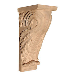 """Inviting Home - Marietta Medium Wood Bracket - White Oak (CB35MOK/c35-9) - wood bracket in white oak 9""""H x 4-1/2""""D x 3-1/4""""W Corbels and wood brackets are hand carved by skilled craftsman in deep relief. They are made from premium selected North American hardwoods such as alder beech cherry hard maple red oak and white oak. Corbels and wood brackets are also available in multiple sizes to fit your needs. All are triple sanded and ready to accept stain or paint and come with metal inserts installed on the back for easy installation. Corbels and wood brackets are perfect for additional support to countertops shelves and fireplace mantels as well as trim work and furniture applications."""