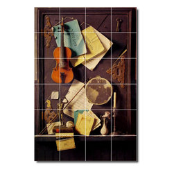 Picture-Tiles, LLC - The Old Cupboard Door Tile Mural By William Harnett - * MURAL SIZE: 48x32 inch tile mural using (24) 8x8 ceramic tiles-satin finish.